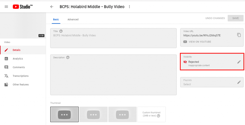 Youtube Rejects Video